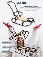 Детские Санки складные с толкателем ГЕРКУЛЕС ПРЕМИУМ   22КР   (Бордовые)