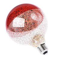 LED лампа Эдисона G-125  (пятнистая зеркальность + Red filter)  /special series/