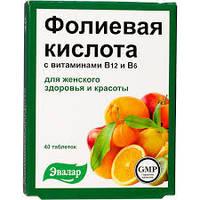 Эвалар, Россия Фолиевая кислота с витаминами В12 и В6 40 таб