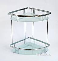 Полка в ванную из латуни угловая двойная со стеклом 22 x 22 см