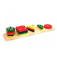 Деревянные игрушки МДИ - Пирамидки счет геометрия 5 в 1 (A 337)