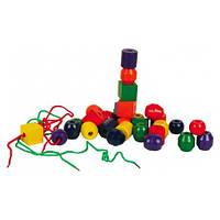 Деревянные игрушки МДИ - Шнуровка геометрические бусы (Д001)