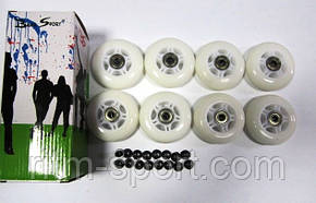 Колеса для роликовых коньков d-80 мм в наборе (8 колес с подшипниками и 16 втулок), фото 2
