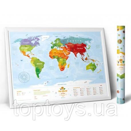 Скретч карта мира для детей Travel Map - Kids Animal (KA) - Интернет-магазин детских игрушек TopToys в Киеве