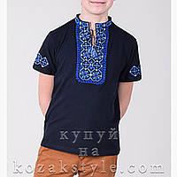 Трикотажна вишиванка  для хлопчика (темно-синя)