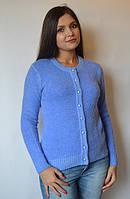 Кофта женская из ангоры с пуговичками, голубо-синяя, 44-50 р-ры