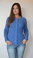 Кофта женская из ангоры с пуговичками, темно синяя, р-ры 44-48