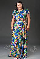 Платья длинные в цветах с поясом. Большие размеры. /5 цветов/.