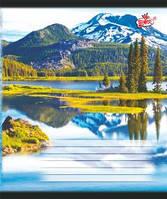 Тетрадь 18 листов линия картонная обложка красные поля офсетная бумага Бриск в ассортименте