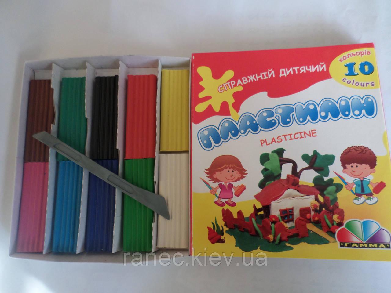 Пластилин Гамма 10 цветов 200 грамм со стеком Детский Серия Увлечения 331010 Гамма