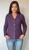 Кофта женская из ангоры с пуговицами мысом фиолетовая, с бусинами, 44-48 р-ры