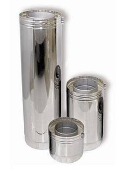 Труба н/ж для дымохода н/н, с теплоизоляцией 110/170 мм, 1.0 м, 0,5 мм (Pt)