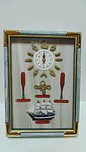 Ключниця настінна дерев'яна «Морський вузол» з годинником розмір 35*25*7