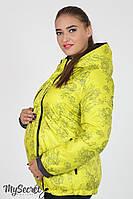Демисезонная двухсторонняя куртка для беременных Floyd, графит с цветами на салатном., фото 1