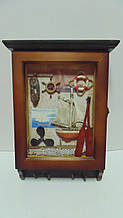 Ключница настенная деревянная «Морская лагуна» размер 36*26*7