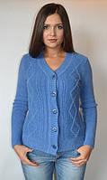 Кофта женская из ангоры с пуговицами мысом синяя, с бусинами, 44-48 р-ры