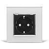 Розетка з заземленням Livolo, біла/чорна, хром, скло (VL-C7C1EU-11/12C)