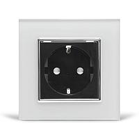 Розетка з заземленням Livolo, біла/чорна, хром, скло (VL-C7C1EU-11/12C), фото 1