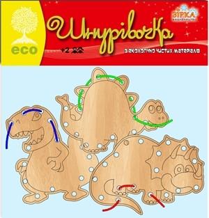 """Шнуровка """"Динозаврики"""", 3 шт, Зірка"""