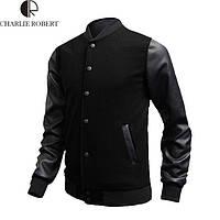 Мужская куртка, мужской пиджак с кожаными вставками. Модель 760