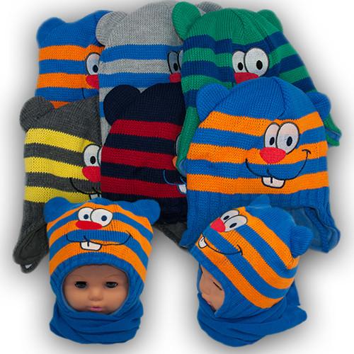 Детский комплект - шапка и шарф для мальчика, Grans (Польша), подкладка флис, AM92STM