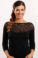 Мери блузка черная 44-56р трикотаж Польша