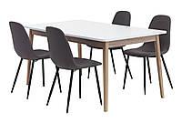 Комплект кухонный (обеденная группа из стола белого + 4 стула тканевых)