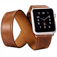 Ремешок для Apple Watch Classic Genuine Leather Quadri-Watchband Series-38mm коричневый