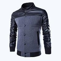Мужская куртка, мужской пиджак с кожаными вставками. Модель 761