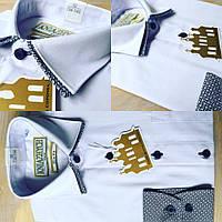 Стильная белая рубашка с двойным воротником для мальчика