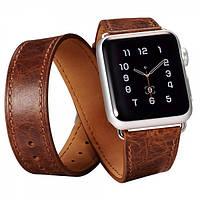 Ремешок для Apple Watch Classic Genuine Leather Quadri-Watchband Series-38mm кофеййный