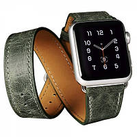 Ремешок для Apple Watch Classic Genuine Leather Quadri-Watchband Series-38mm зеленый