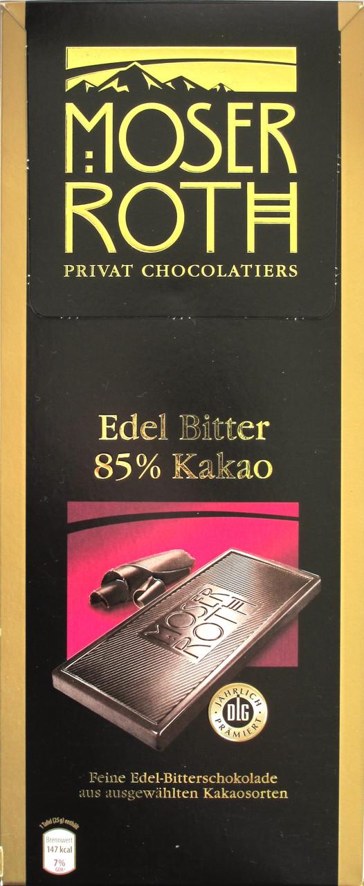 Горький классический шоколад Moser Roth Edel Bitter 85% какао, 125 гр.