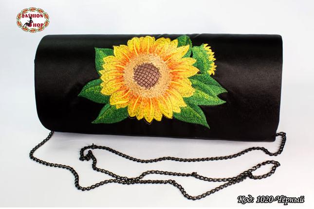 Вышитый чёрный клатч Подсолнух, фото 2