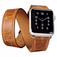 Ремешок для Apple Watch Classic Genuine Leather Quadri-Watchband Series-42mm оранжевый