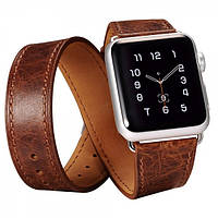 Ремешок для Apple Watch Classic Genuine Leather Quadri-Watchband Series-42mm кофейный