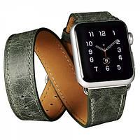 Ремешок для Apple Watch Classic Genuine Leather Quadri-Watchband Series-42mm зеленый