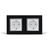 Розетка двойная с заземлением Livolo, черная/белая, хром, стекло (VL-C7C2EU-12/11C), фото 1