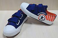 Детские джинсовые кеды конверс криперы на двух липучках для мальчика тм Том.м р.34,35,36