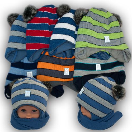 Детский комплект - шапка и шарф для мальчика, Agbo (Польша), подкладка трикотаж, MARKO 894