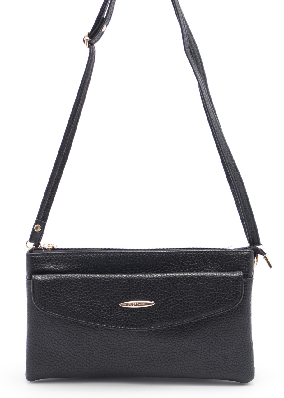 Небольшая черная женская сумка-барсетка FUERDANI art. 558