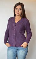 Кофта женская из ангоры с пуговицами мысом фиолетовая, 44-48 р-ры, фото 1