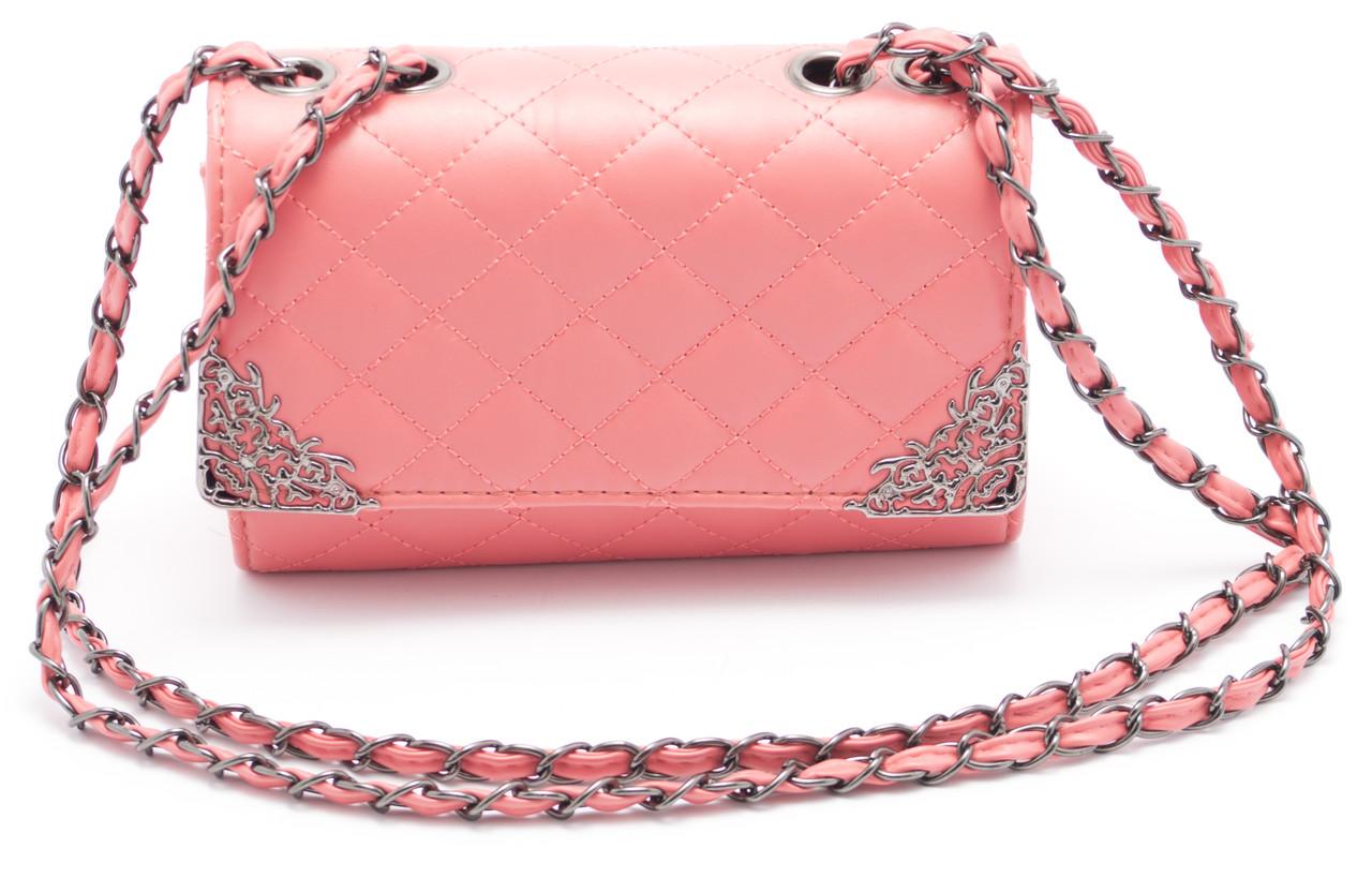 Стильная женская розовая сумоччка Б/Н art. 1002-4