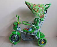 Детский трёхколёсный велосипед с родительской ручкой и качалкой зеленый