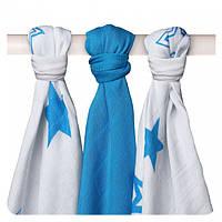 Пеленки детские бамбуковые муслиновые XKKO 70x70 двухслойная 3 шт. Белые с синими звездами