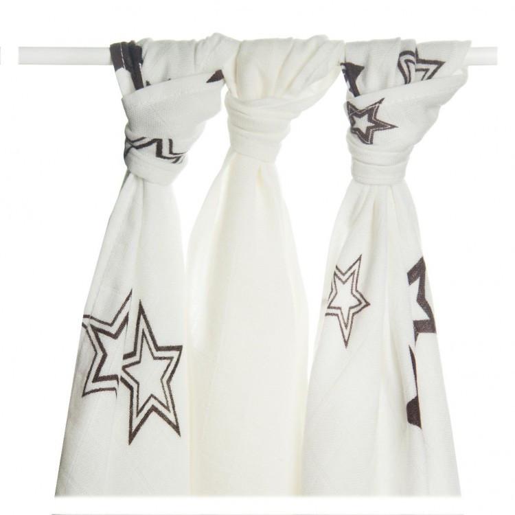 Пеленки бамбуковые  муслиновые XKKO 70х70 двухслойная 3 шт. Белые с коричневыми звездами