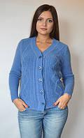 Кофта женская из ангоры с пуговицами мысом синяя, 44-48 р-ры, фото 1