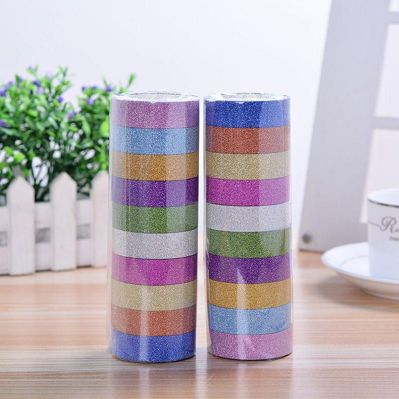 Набор декоративный разноцветный скотч с блестящим напылениями 10 шт