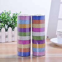 Набор декоративный разноцветный скотч с блестящим напылениями 10 шт, фото 1