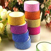 Декоративный разноцветный скотч с блестящим напылением